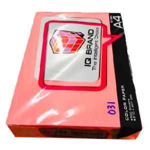 กระดาษสีชมพูนีออนIQ BRAND 80 แกรม A4 เบอร์31