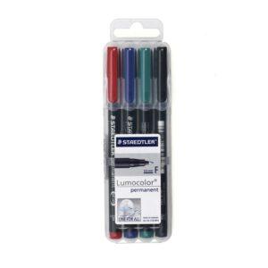 ชุดปากกาเขียนแผ่นใส4ด้าม ลบไม่ได้ F (0.6มม.) สเต็ดเล่อร์ 318-WP4