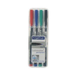 ชุดปากกาเขียนแผ่นใส4ด้าม ลบไม่ได้ S(0.4มม.) สเต็ดเล่อร์ 313-WP4