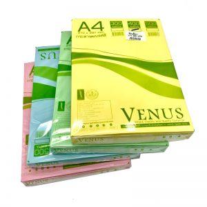 กระดาษแบงค์สี A4 หนา55แกรม VENUS (แพ็ค400แผ่น)