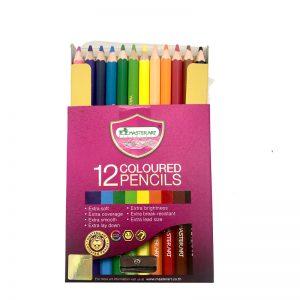 ดินสอสีไม้ 12สี แท่งสั้น มาสเตอร์อาร์ต PREMIUM GRADE แถมฟรี กบเหลา1อัน