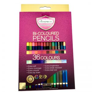 ดินสอสีไม้ 2 หัว มาสเตอร์อาร์ต 36สี เกรดฟรีเมี่ยม(Bi-Coloured Pencils)